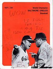 1971 (June 28) Baseball Program, Detroit Tigers @ Baltimore Orioles, scored~Fair