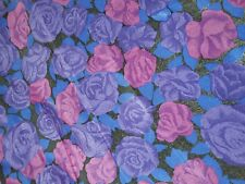 (3,99€/m) Viskose Blumen Stoff lila-blau 1,50 x 3,20m