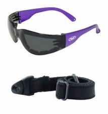 Rider Plus Purple Smoked Padded Motorcycle Glasses Sunglasses Strap Included ATV