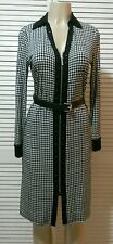 NEW! MICHAEL KORS Houndstooth Print Zip Front Belted Shirtdress Small