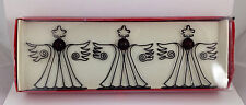 Pier 1 set of 3 Angel Photo Card Holders Wire w Christmas Red Green Amber Glass