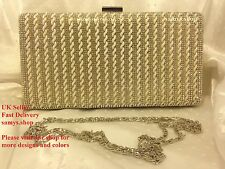 Gold Pearl Crystal Diamante Evening Party Prom Bridal Purse Clutch Handbag