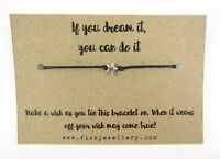 If You Can Dream It, You Can Do it Message Card Tie Wish Bracelet Xmas Gift