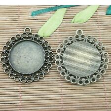 3pc antiqued bronze round shaped cabochon settings DIY pendant  EF1246