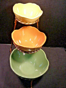 PRINCESS HOUSE Pavillion 3 Nesting Bowls w/Metal Stand Fall Colors Easy Storage