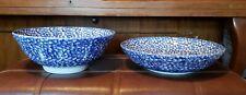 Vintage Roma Inc Bowl Set Lot Of 2 Italy Ceramic Blue Sponge serving bowls