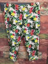 Terra & Sky Women's White Floral Capri Length Leggings Size 20W-22W