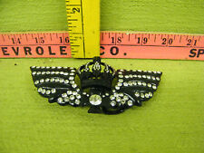 Rhinestone Crown With Angel Wings Belt Buckle