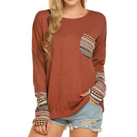 Women Ladies Long Sleeve Blouse T-Shirt Casual Patchwork Top With Thumb Holes AB