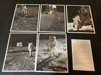 Lot of 5 Colorama Photos Man's 1st Steps on the Moon Eastman Kodak 8.5X11 1969