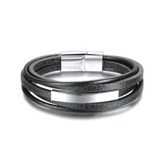 MEN'S BLACK MULTI LINE LEATHER STAINLESS STEEL ID CUSTOM BRACELET