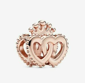 Rose Gold Crown & Entwined Hearts Love Charm fits European Bracelet