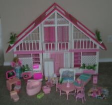 Vintage Barbie Doll DREAM HOUSE A-Frame Pink Dollhouse Furniture & Accessories