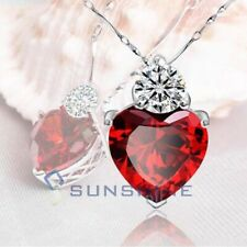 Red Crystal Heart Necklace MOTHER's Day Birthday Gift for Wife Ladies Girls