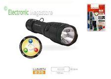 Torcia alta potenza con 4 led 3 RGB bianco (XR-E CREED) da 235 LUM lampeggio SOA
