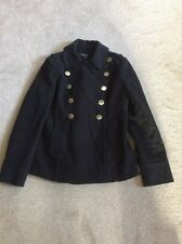 LADIES BLACK 'TOPSHOP'  LINED COTTON JACKET WITH GOLD BUTTONS SIZE 12