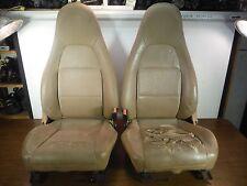 #4 Miatamecca Seat Set Saddle Leather 99-00 Mazda Miata MX5 NC1157150F21 OEM