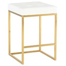 """17.8"""" W Set of 2 Counter Stool White Faux Leather Seat Brushed Gold Frame Modern"""