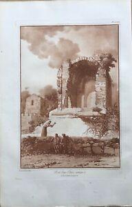 """RESTE D""UN EDIFICE ANTIQUE"", Sicily. Original Aquatint by J.HOUEL,1782."