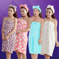 Cute Women's Absorbent Microfiber Bow Shower Body SPA Bath Wrap Towel Bath Robe