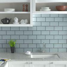 TILE SAMPLES London Bevelled Light Blue Gloss Metro Bathroom Tiles 10 x 20cm