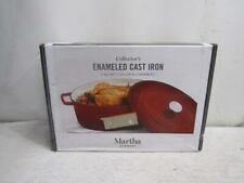 Martha Stewart 8 Quart Enameled Cast Iron Round Dutch Oven In Red