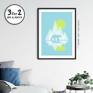 Polar Bear Giclee Art Print, Abstract Modern Landscape Poster, Bauhaus Style Art