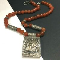 Vintage Sterling SILVER Oriental ASIAN Necklace CARNELIAN Chinese Export  LL110o