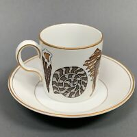 Neiman Marcus by Fitz and Floyd FF Gold Trim Brown Shells Tea Cup & Saucer