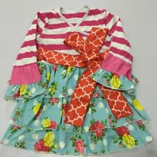 NWT Girl size 5 PRETTY Pink Red REMAKE Boutique Pullover Multi Pattern DRESS 5