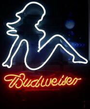 """New Budweiser Beer Mud Flap Girl Neon Light Sign 17""""x14"""""""