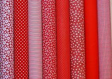 RED MIX  POLY COTTON FABRIC BUNDLE REMNANTS SQUARES OFF CUTS BUNTING PATCHWORK