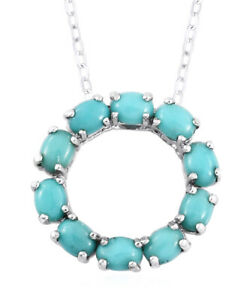 """Blue Turquoise Platinum Over Sterling Silver Circle Pendant With Chain 20"""", New"""