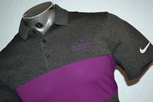 23400-a Mens Nike Golf Polo Shirt Size Medium Gray Purple Polyester