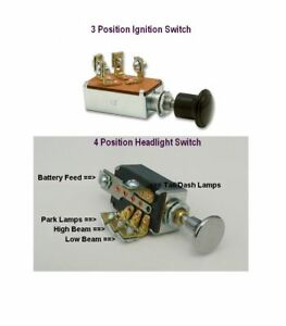 Ignition Switch Push Pull Type and Headlight Dimmer Switch 4 Position Hot Rod ck