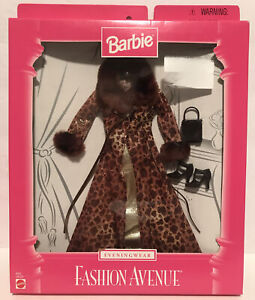 1998 Barbie Fashion Avenue Evening Wear 18120 Mattel NRFB Leopard Coat Fur Gold