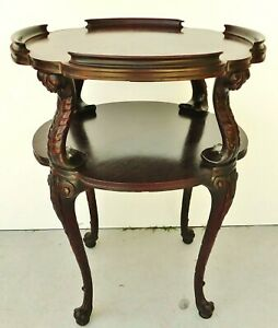 Antique/Vtg Carved Mahogany Wood Round 2 Tier Dumbwaiter Tea Accent Parlor Table