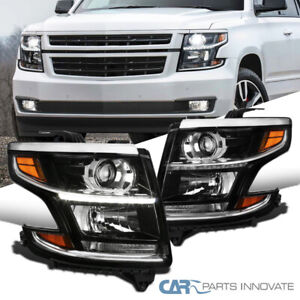 For 15-20 Chevy Tahoe Suburban Black LED Strip Bar Projector Headlights Lamp L+R