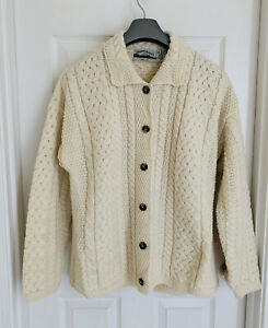 aran crafts Irish knit cardigan sweater XL Merino Wool