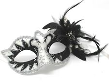 BLACK SILVER & WHITE MASK WITH  PEARLS  VENETIAN CARNIVAL MASQUERADE MASK