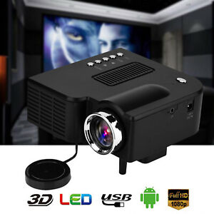 Mini LED Projector HD 1080P Portable Home Theater Cinema USB HDMI Multimedia AV