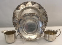 OLD ENGLISH REPRODUCTION Silver Plated Wine Bottle Coaster~Tray~Creamer~Sugar