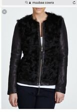 NWT Muubaa Cowra Fur Leather Shearling Jacket Black Biker Coat US 4/ UK 8 $1,295