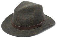 Mens Hawkins Country 100% Wool Tweed Fedora Hat Teflon BROWN SIZE M 58CM