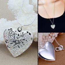 Women 925 Silver Picture Locket Love Heart Photo Pendant Chain Necklace Jewelry