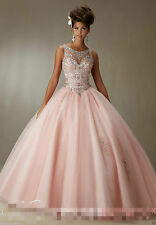 2018 Quinceanera Dress Ball Gown Beaded Bridal Cocktail Party Prom Dress Custom