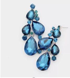"""3"""" Big Long Teal Blue Crystal Pageant Wedding Bridal Chandelier Earrings"""