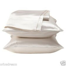 "KING - TWO SOFT ""SILKY"" SATIN / SATEEN PILLOW CASE / COVER - WHITE (1 PAIR)"