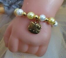 "Reborn baby doll / unique bracelet 15 "" - 19"" Gold Hello Kitty charme"