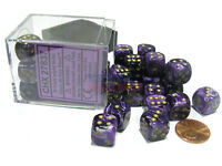 Vortex 12mm D6 Chessex Dice Block (36 Dice) - Purple with Gold Pips
